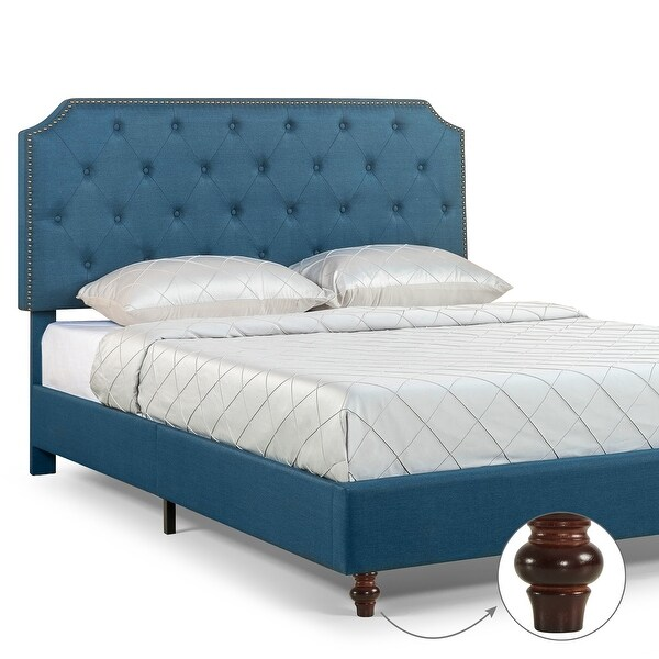 Priage by ZINUS Blue Tufted Nailhead Upholstered Bed Frame with Adjustable Headboard. Opens flyout.