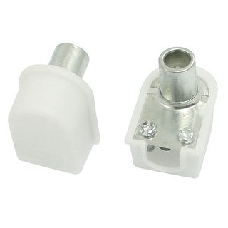 2pcs RF Antenna CATV TV FM Coaxial Cable PAL Male Connector Plug White