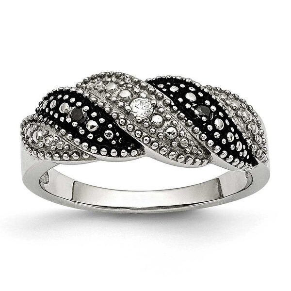 Chisel Stainless Steel Black and Clear CZ Ring (7 mm)