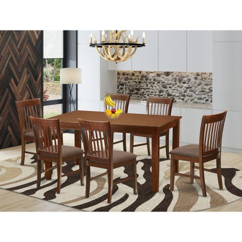 Dinette Set - Dining Table and 6 Chairs in Mahogany Finish (Pieces Option)