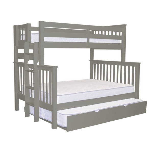 Bedz King Bunk Beds Twin Over Full Mission Style With End Ladder And A Full Trundle Gray Overstock 24238791