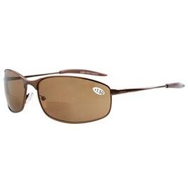 Eyekepper Metal Frame Fishing Golf Cycling Outdoor Bifocal Sunglasses Brown+2.5
