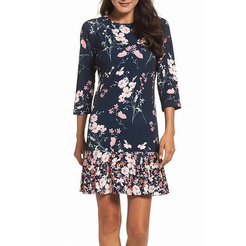 Eliza J Blue Womens Size 16 Florla Print Jersey Sheath Dress