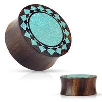 Crushed Turquoise Tribal Sunburst Inlaid Organic Sono Wood Flared Saddle Plug (Sold Ind.)