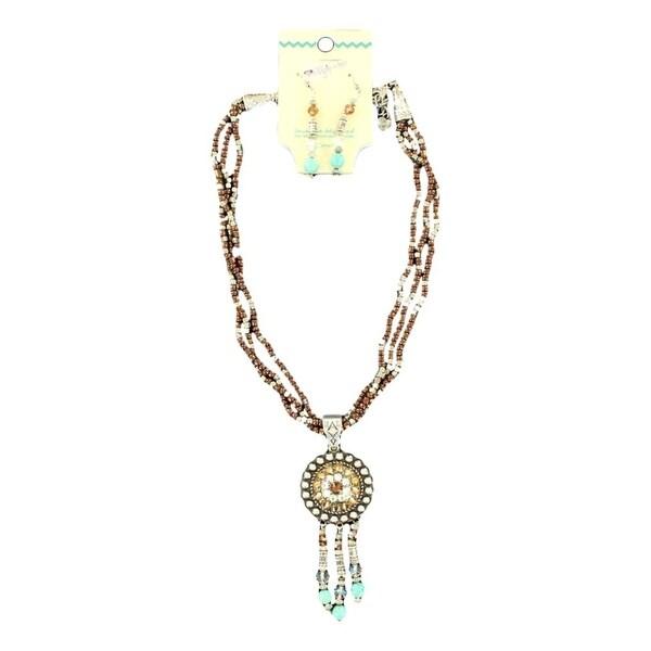 Blazin Roxx Jewelry Women Necklace Earrings Strands Brown Silver 29082