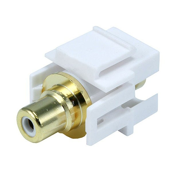 Monoprice Modular RCA Coupler Keystone Jack w/White Center, Flush Type - White