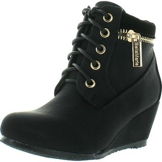 Bella Marie Kids Girls Sally31 Gold Zipper Decor Faux Nubuck Lace Up Wedge Ankle Boot Booties - Black - 12 m us little kid