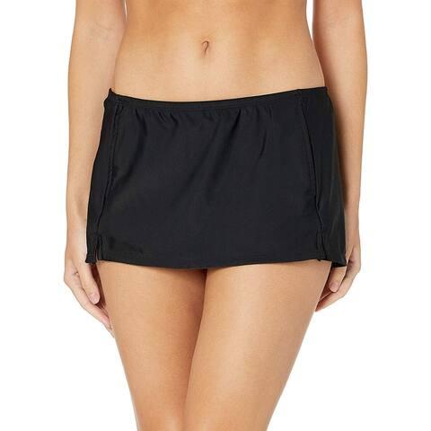 Skechers Womens Core Solids, Black Skirted Midster Bikini Bottom, Size Medium - Black Skirted Midster Bikini Bottom
