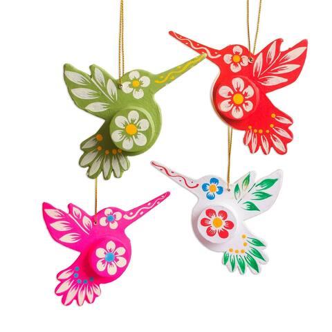 Papier mache ornaments, 'Ayacucho Hummingbirds' (set of 4)