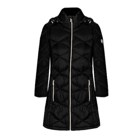 Michael Michael Kors Women's Black 3/4 Down Hooded Packable Coat