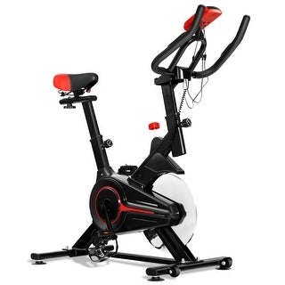 Gymax Indoor Cycling Bike Exercise Cycle Trainer Fitness Cardio Workout LCD Display - black+red