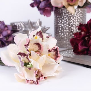 "G Home Collection Luxury Silk 7 Cymbidium Orchid Bouquet in 5 Various Colors 9"" Tall"