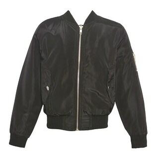 Mini Moca Girls Black Fur Lined Full Zipper Trendy Bomber Jacket