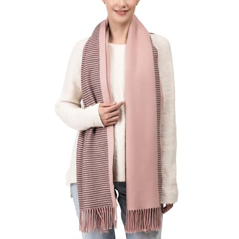 "Glitzhome 73""L Pink and Brown Striped Reversible Scarf with Tassels"