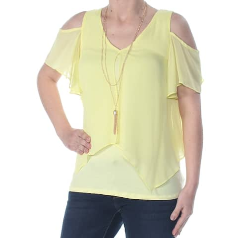 BCX Womens Yellow Heather V Neck Wear to Work Top Size 2XS
