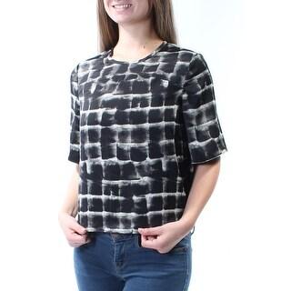 RACHEL ROY $79 Womens New 5455 Black Printed Jewel Neck Short Sleeve Top S B+B