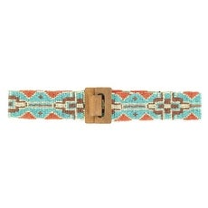Nocona Western Belt Womens Wide Beaded Tribal Turquoise
