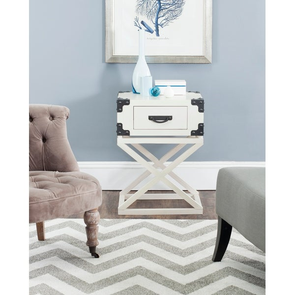 """SAFAVIEH Dunstan White Accent Table - 18.9"""" x 15"""" x 25.6"""". Opens flyout."""