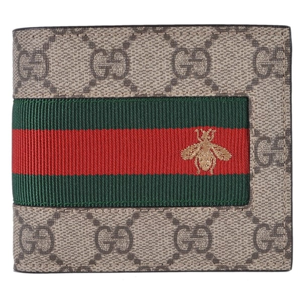 499915189c78 Gucci Men's Beige GG Supreme Canvas Red Green Web BEE Bifold Wallet