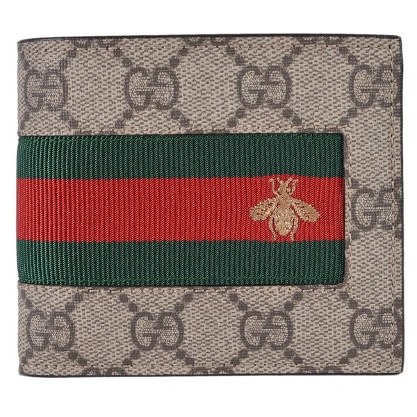 afd8b567ccfe4 Gucci Men  x27 s Beige GG Supreme Canvas Red Green Web BEE Bifold Wallet