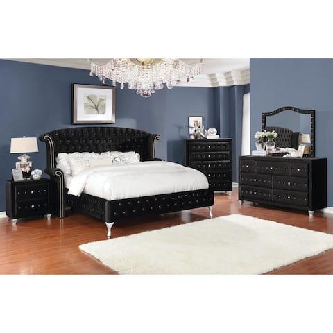 Audrey Black 4-piece Upholstered Bedroom Set