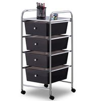 Costway 4 Drawers Metal Rolling Storage Cart Scrapbook Supply & Paper Home Office - as pic
