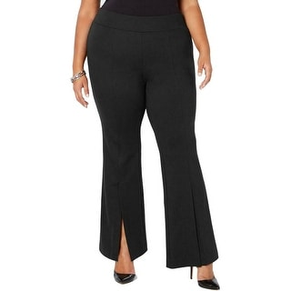 Link to INC Womens Pants Black Size 24W Plus Split Front Pull On Flare Stretch Similar Items in Pants
