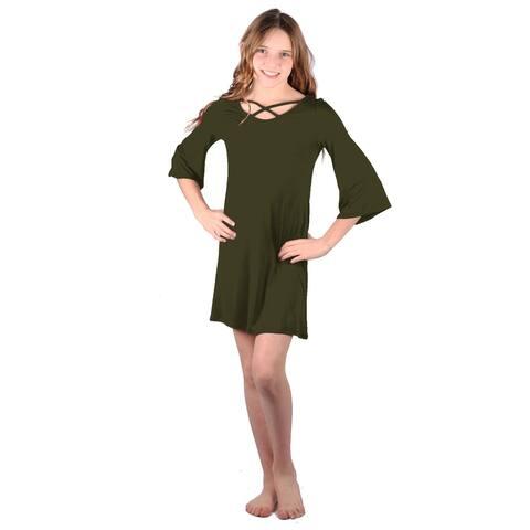 Lori Jane Olive Green Crisscross Trendy Dress Big Girls