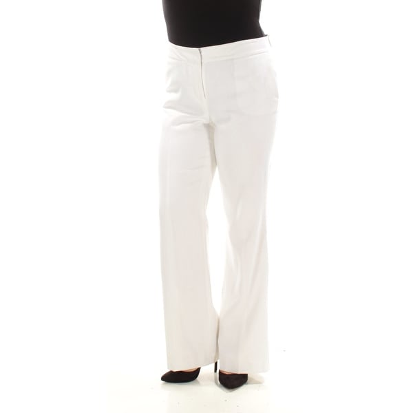 5c3e1ffed268 Shop NINE WEST $79 Womens New 1512 White Flat Front Pleated Straight leg  Pants 8 B+B - Free Shipping On Orders Over $45 - Overstock.com - 21392663