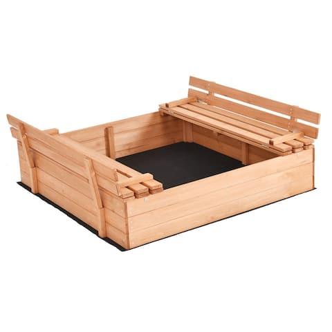 Costway Foldable Beach Cabana Sandbox Retractable w/ Bench Seat Kids Children Outdoor - as pic
