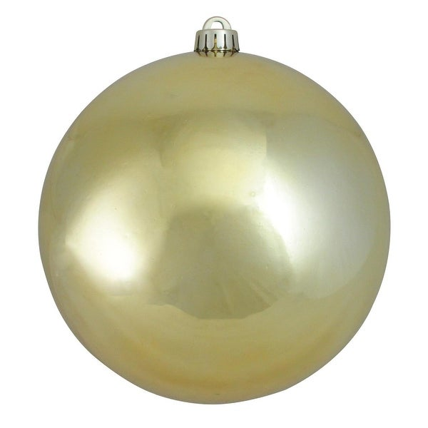 """Shiny Champagne Gold UV Resistant Commercial Shatterproof Christmas Ball Ornament 8"""" (200mm)"""