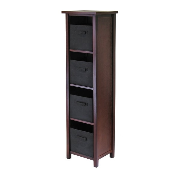"""55.75"""" Walnut and Black Unique Verona 4-Section Rectangular Storage Shelf with 4 Foldable Fabric Baskets - N/A"""