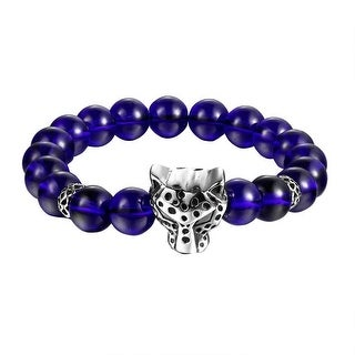Blue Glossy Beaded Bracelet Panther Cheetah Stainless Steel Shamballa Design