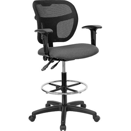Offex Mid-Back Mesh Drafting Stool with Gray Fabric Seat and Arms [OF-WL-A7671SYG-GY-AD-GG]