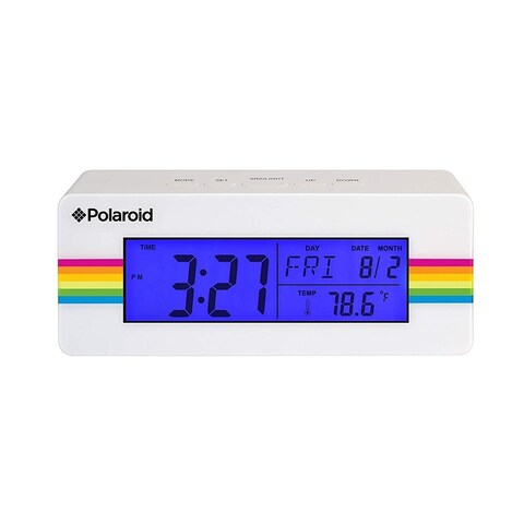 Polaroid Desktop Digital Clock with 12/24 Hour Display with Blue Back Light.