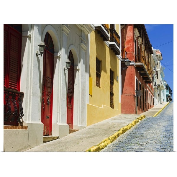 """""""Puerto Rico, Old San Juan, Row of historic houses in Old Town"""" Poster Print"""