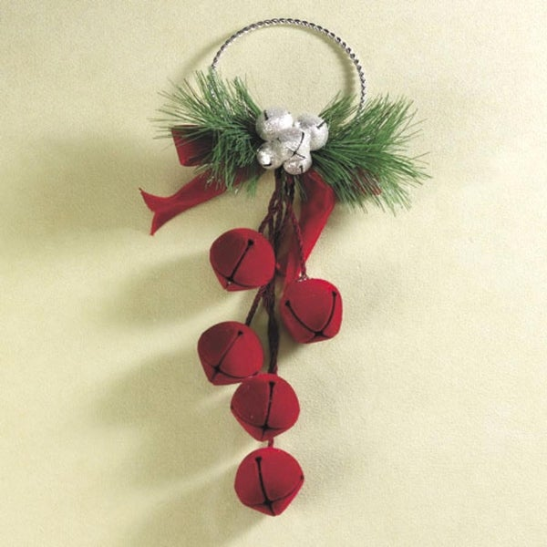 "11.5"" Red Velvet & Sparkly Silver Jingle Bell Door Hanger #886984"