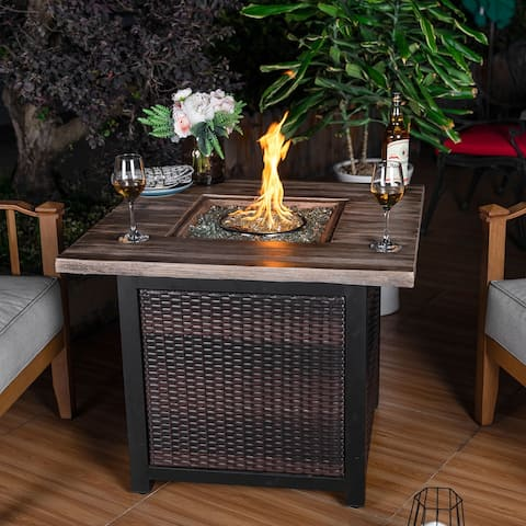 NUU GARDEN 34-in. Wicker Fire Pit Table with Cover