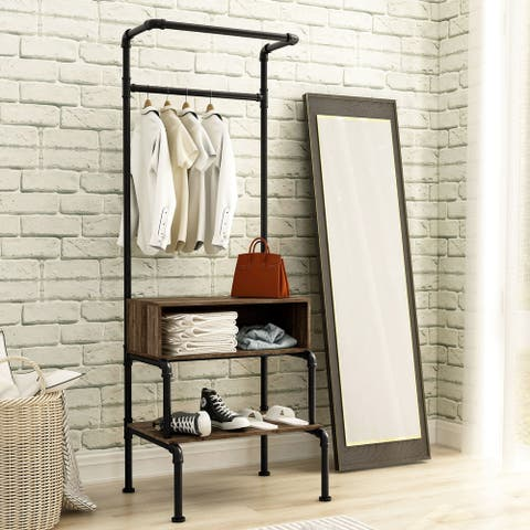 Furniture of America Cassia Industrial Reclaimed Oak Finish Clothes Garment Rack