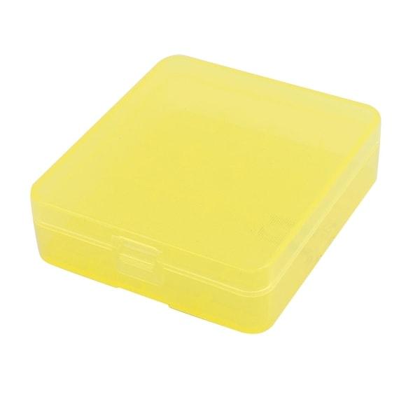 82mmx73mmx23mm Hard Plastic Battery Storage Case Holder Organizer Yellow