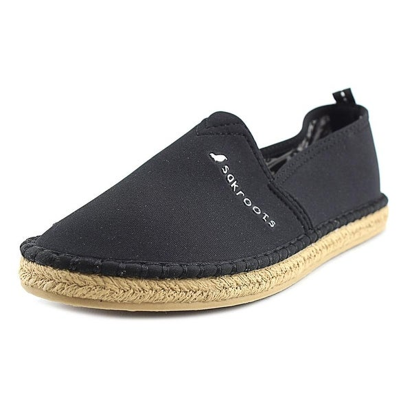 Sakroots Eton Women Open Toe Canvas Black Slides Sandal