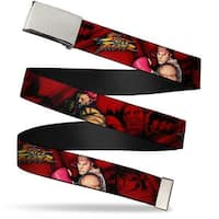 Blank Chrome Buckle Street Fighter Ryu Ken Akuma Poses Red Webbing Web Belt