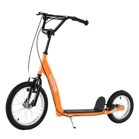 Aosom Youth Kick Scooter Adjustable Handlebar Teens Ride On Toy For 5+ w/ Front and Rear Dual Brakes Inflatable Wheels