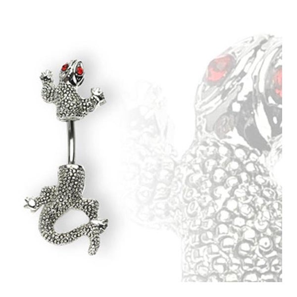 Stainless Steel Red Eyed Chameleon Navel Belly Button Ring