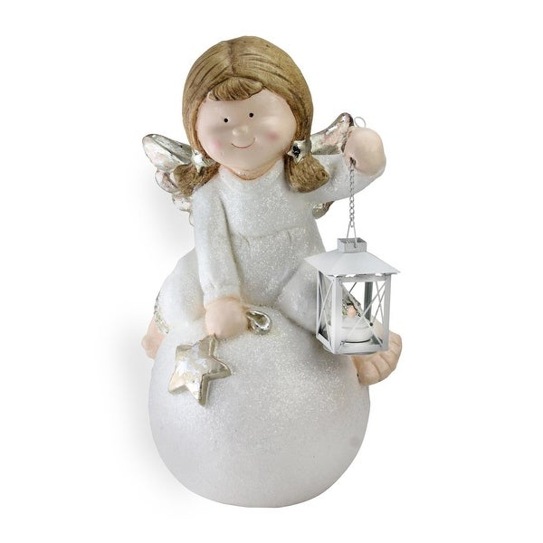"17.75"" Glittered Angel with Candle Lantern Christmas Table Top Decoration"
