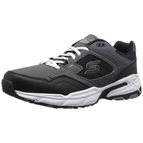 Skechers Mens Stamina Plus Athletic Shoes Leather Perforated - Black