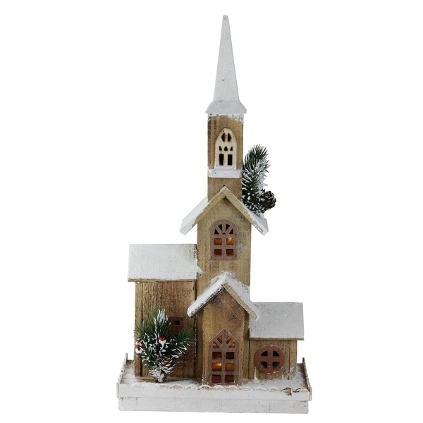 """21.25"""" LED Lighted Brown Wooden Snowy Church Christmas Decoration"""