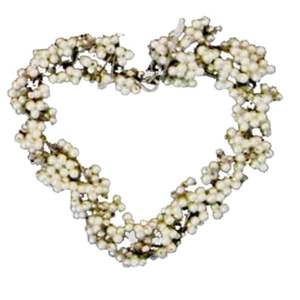 Set of 4 Hand-Crafted White Pearl Beaded Heart Christmas Wedding Ornaments 2.5""