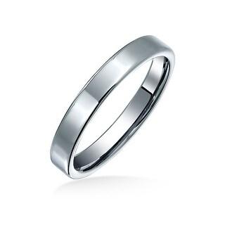 Unisex Polished Tungsten Flat Wedding Band Ring 3mm