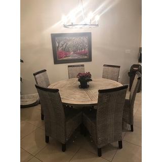 "Safavieh Rural Woven Dining Ilya Antique Grey Wicker Dining Chairs (Set of 2) - 17.3"" x 24"" x 39.3"""
